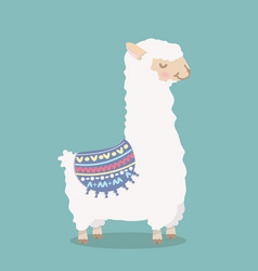 cute funny alpaca fluffy cartoon vector image