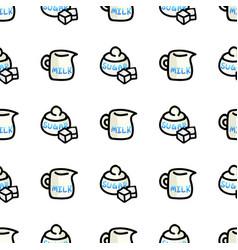 Cute milk jug and sugar pot cartoon seamless vector
