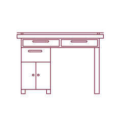 dark red line contour of wooden home desk with vector image