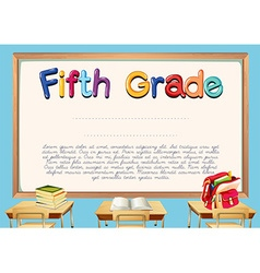 Diploma template for fifth grade students vector