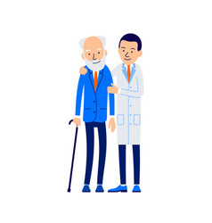 doctor and patient young doctor hugs and supports vector image
