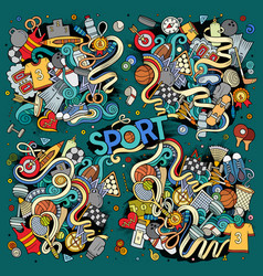 Doodle cartoon set of sport designs vector