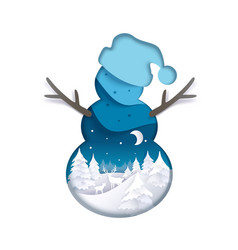 double exposure layered paper cut snowman vector image
