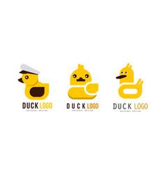 duck logo original templates design set badge vector image