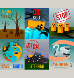 ecological problems flat cards vector image