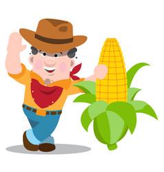 Farmer and a large ear of corn farming vector