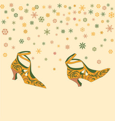 fashion female shoes background retro wallpaper vector image