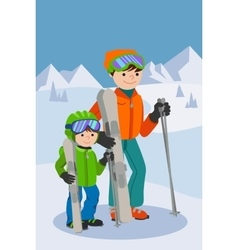 Father and son skiing in snow mountain Family vector image