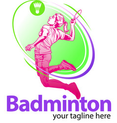 Female badminton player symbol vector