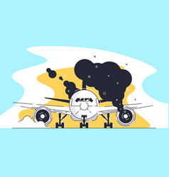 flat burning airplane on runway at airport vector image