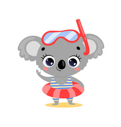 flat cute cartoon summer koala vector image