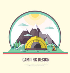 flat design of vintage landscape and camping tent vector image