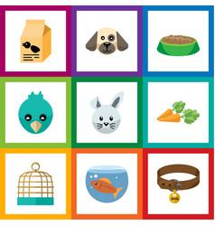 flat icon pets set of nutrition box bunny bird vector image