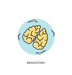 Flat lined brains icon vector image