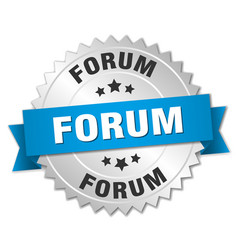Forum round isolated silver badge vector