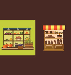 fruit vegetables milk products meat bakery vector image