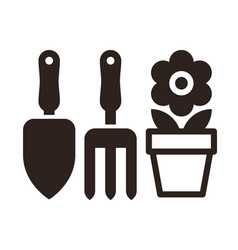 gardening tools and flower pot icon vector image