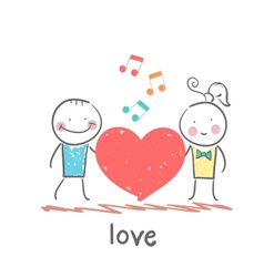 Girl and guy listening to melody heart vector