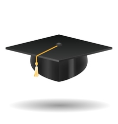 Graduation cap isolated on white vector image