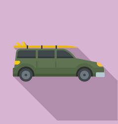 Green travel car icon flat style vector