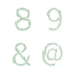 green tree branch set figures numbers alphabet vector image