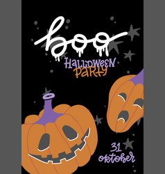 halloween party poster with lettering and vector image