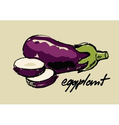 hand drawn eggplant vector image