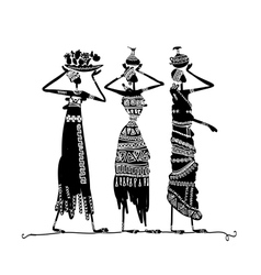 Hand drawn sketch of ethnic women with jugs vector