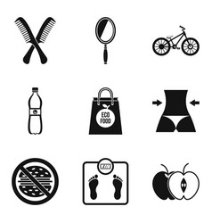 healthy diet icons set simple style vector image