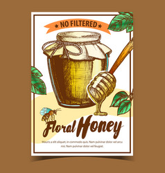 Honey in bottle and wooden stick poster vector