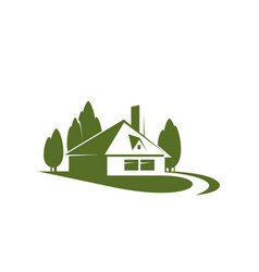 house in green forest park icon vector image