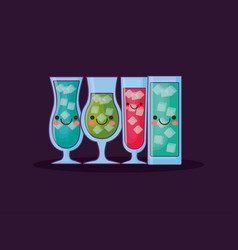 kawaii cocktails drinks vector image