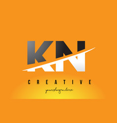 Kn k n letter modern logo design with yellow vector