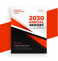 modern red annual report brochure page template vector image