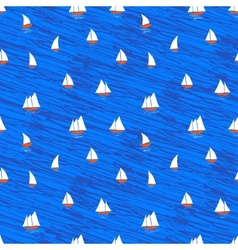 Nautical pattern with small boats on blue waves vector