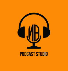 Nb monogram headphone and microphone style vector