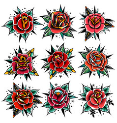 Old school tattoo red roses with leaves set vector