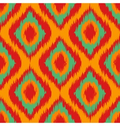 Orange Wild green and red Ikat Seamless Background vector