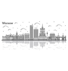 outline warsaw poland city skyline with modern vector image