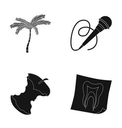 Palm microphone and other web icon in black style vector