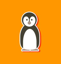 paper sticker on stylish background penguin vector image