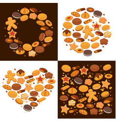 Pastry and bakery food emblem templates shapes vector