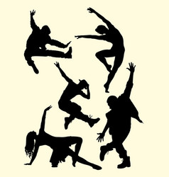 People dance pose male and female silhouette vector