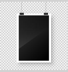 photo card frame film hanging on paper clips with vector image