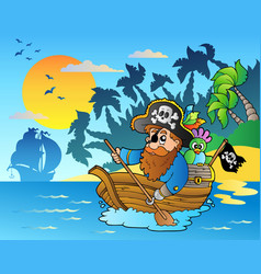 pirate paddling in boat near island vector image