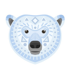 Polar bear head logo white bear decorative vector