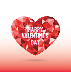 polygonal heart valentines day with shadow vector image
