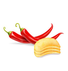 potato chips with spicy chili pepper isolated vector image