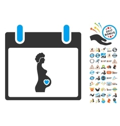 Pregnant Woman Calendar Day Flat Icon With vector