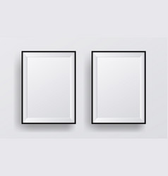 realistic black frame two photo frames mock-up vector image